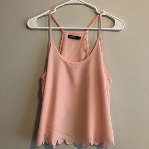 Nasty Gal | Pink/Nude Scalloped Tank